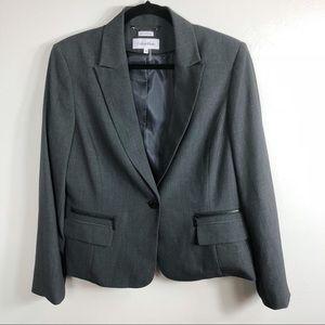 Calvin Klein Grey Single Button Career Blazer 14
